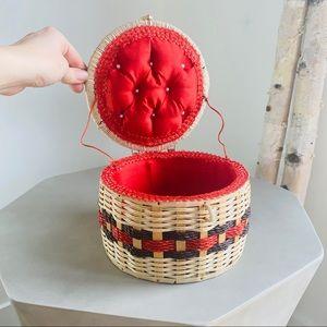 Vintage Accents - Vintage Wicker Sewing Basket